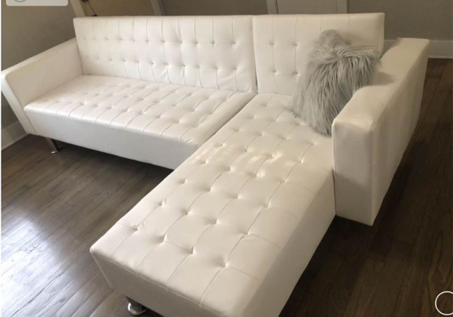 Photo White Adjustable Sofa / Chaise Futon