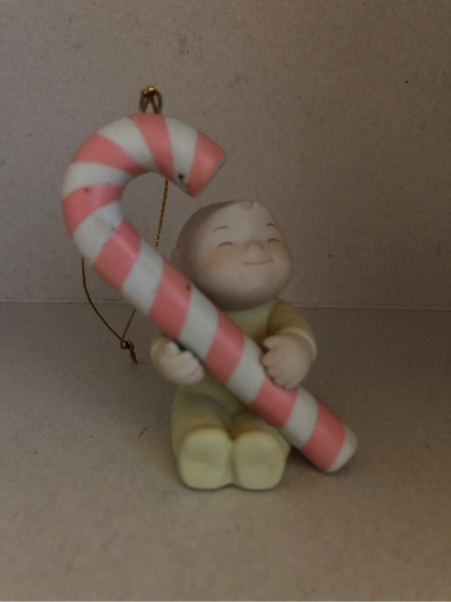 Photo The Family Circus PJ's Candy Cane Vintage Glass Figure.
