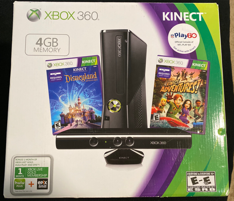 Photo Xbox 360 with kinect & •upgraded memory• plus digital games