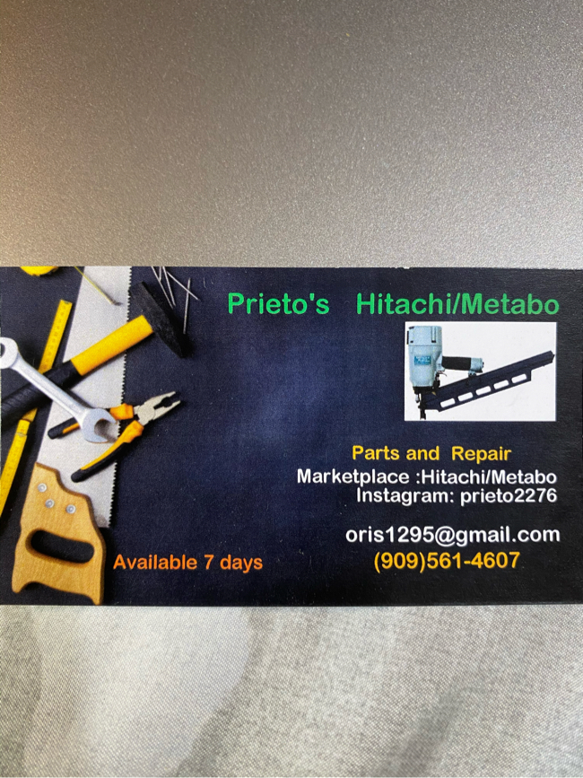 Photo Hitachi/ metabo parts and repair we are available 7 days a week , Saturday and Sunday 8am to 9 pm