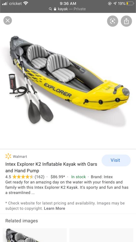Photo One time used kayak