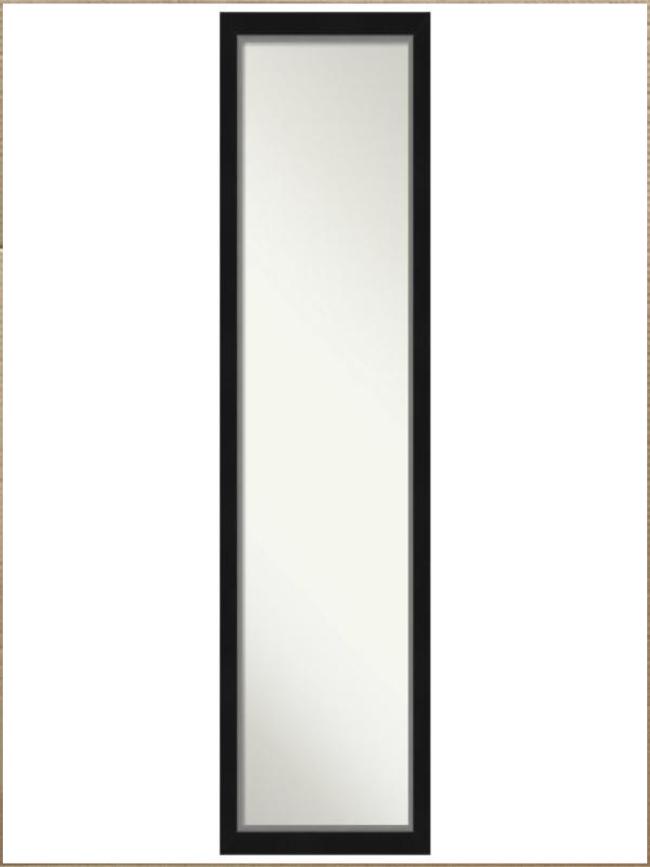 Photo New Open Box Eva Black Silver Narrow 17.12in. x 51.12in. On the Door Full Length Mirror