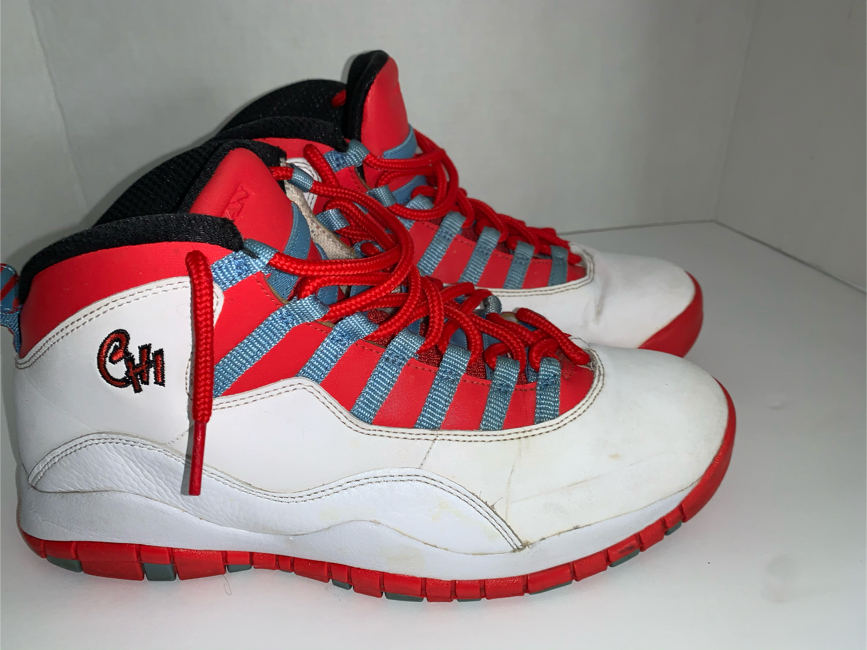 Photo Air Jordan Retro X 10 CHI Retro Chicago Flag Red White Blue Men's size 9