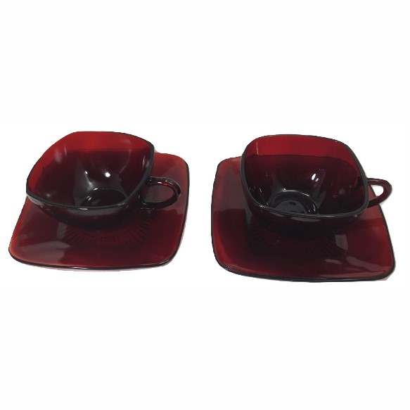 Photo Tea Cups and Saucers Square Cranberry Ruby Red Depression Glass Punch TWO Rare