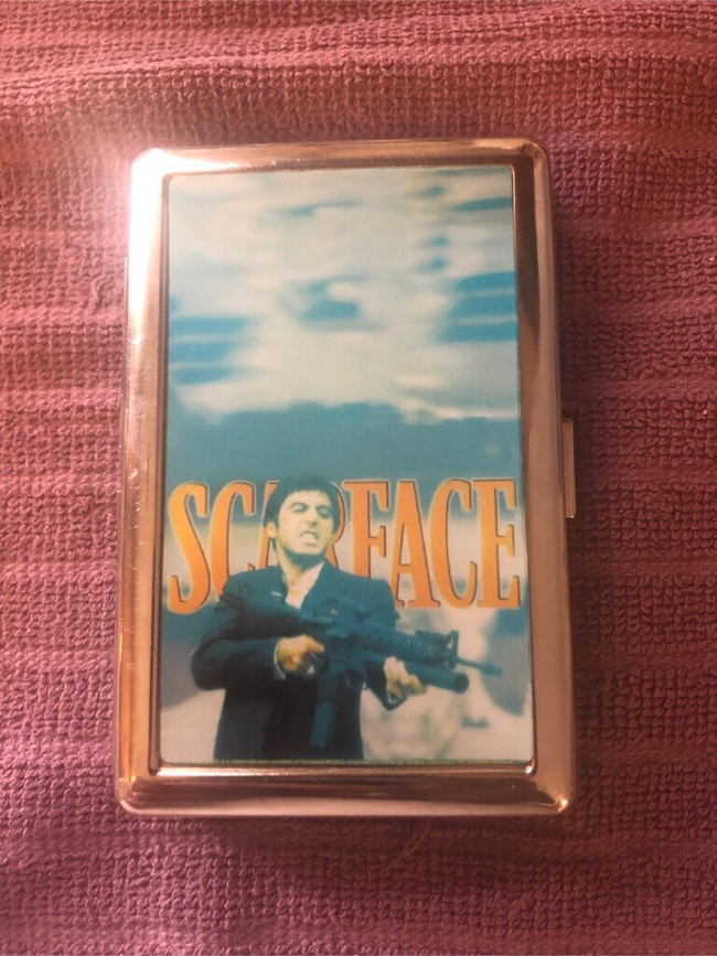Photo Scar Face Silver Cigarette Storage Case Snap Box In Good Condition