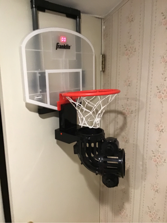 Photo Franklin Sports Shoot Again Over The Door Mini Basketball Hoop With Rebounder and Automatic Ball Return missing 1 foam basketball Size: 28L x 17W x 13H Authentic basketball with automatic ball-feeding system Franklin basketball hoop helps to improve