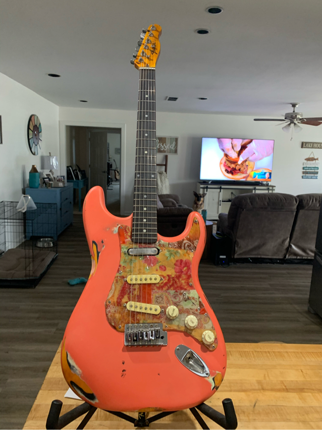 Photo This is a custom Stratocaster with a stratosphere telecaster neck with a fender emblem on the headstock. The neck is in great shape with jumbo frets. It comes with a soft case. Please do not lowball me with ridiculous offers. If you're not serious don�