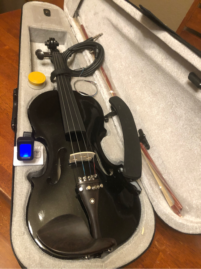 Photo 4/4 Full Size Black Electric Acoustic Violin with New Bow, Digital Tuner, Shoulder Rest, Extra Strings $100 Firm