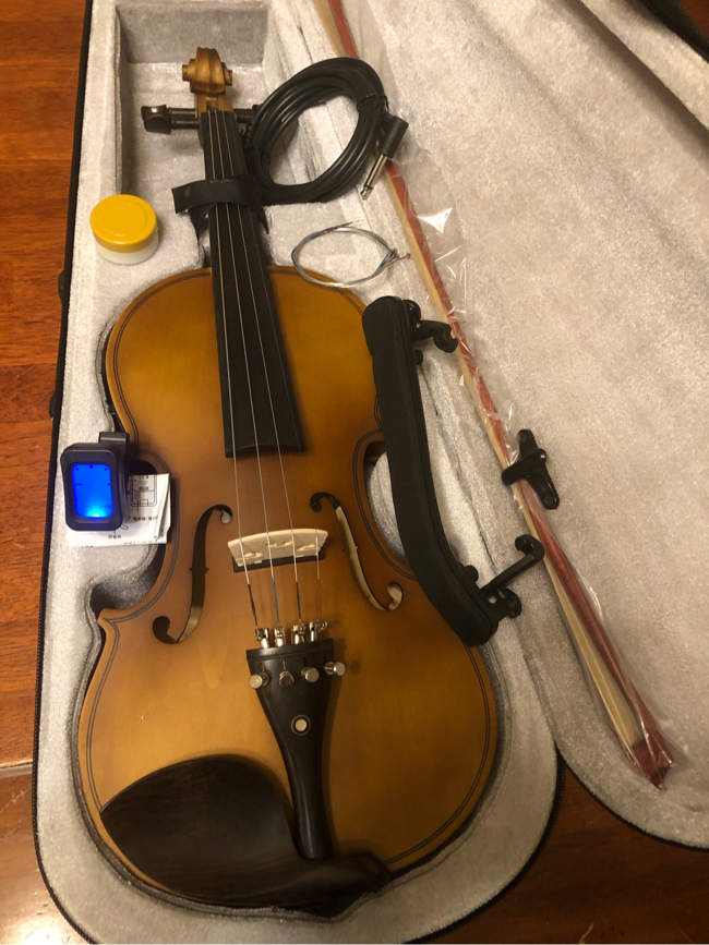 Photo 4/4 Full Size Brown Electric Acoustic Violin with New Bow, Digital Tuner, Shoulder Rest, Extra Strings $100 Firm