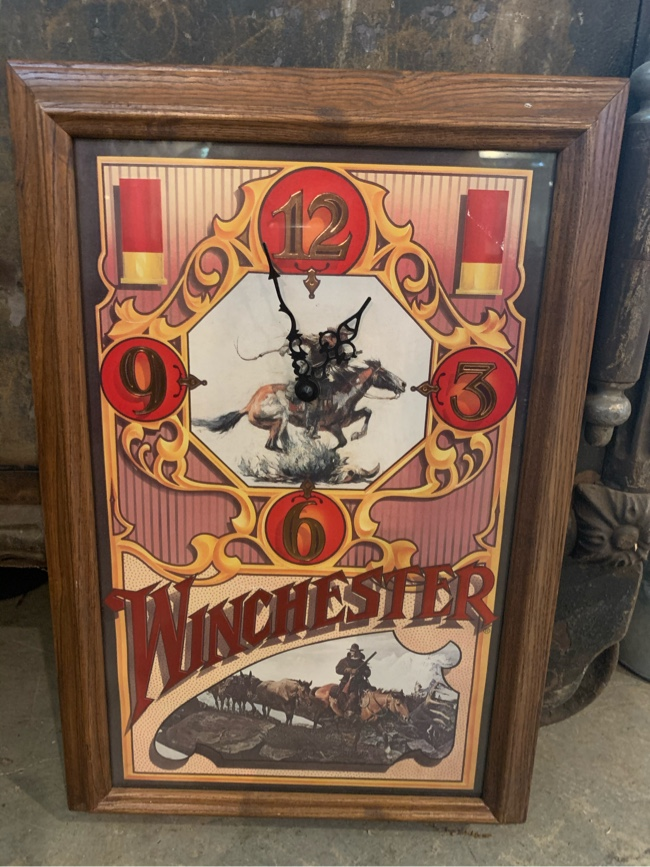 "Photo 13x19 vintage WINCHESTER CLOCK. ""Works"". 38.00. 212 North Main Street Buda. Furniture collectibles sterling silver jewelry man cave items vintage toys antique tools gifts antique advertising signs resellers welcome find me and like me on Instagram A"