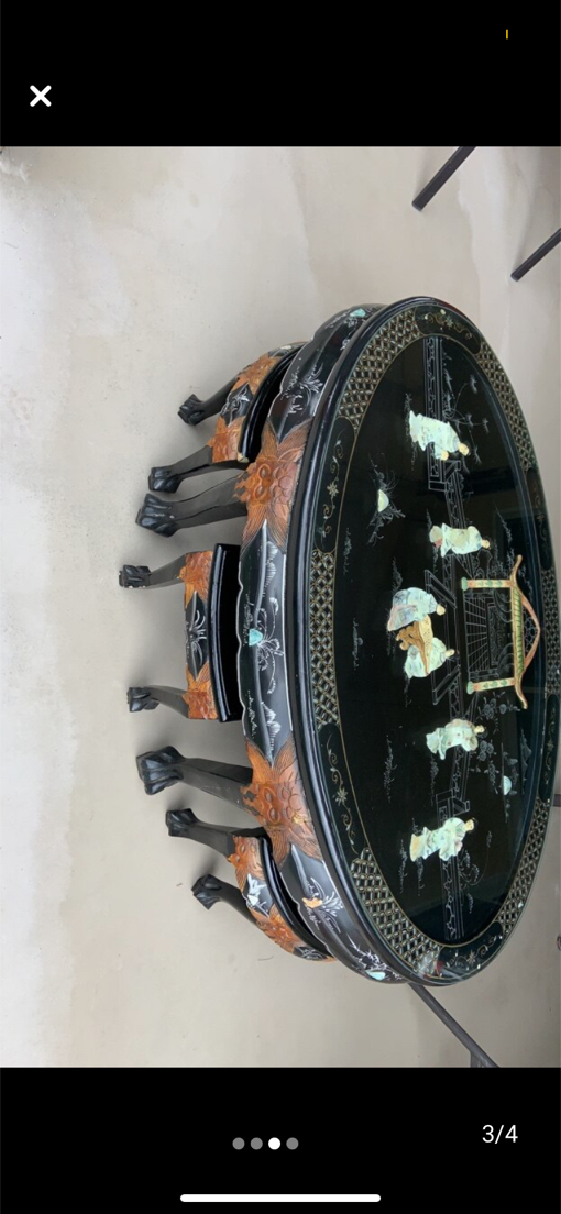 Photo Asian Table, glass top, table and six seats with pearl inlay- Oval Shape with the following Dimensions: L48 x W32 x H21