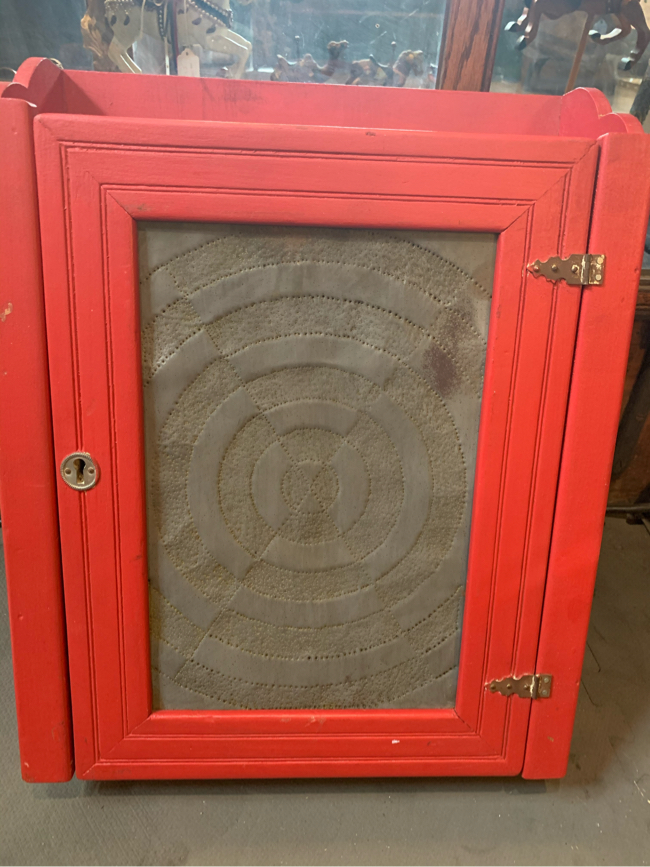 Photo 14x5x17 antique vintage red farmhouse hanging wood and metal pie safe cabinet 45.00. ☘️Johanna furniture collectibles sterling silver jewelry man cave items toys tools gifts advertising signs resellers welcome Find me on Instagram for a better look a