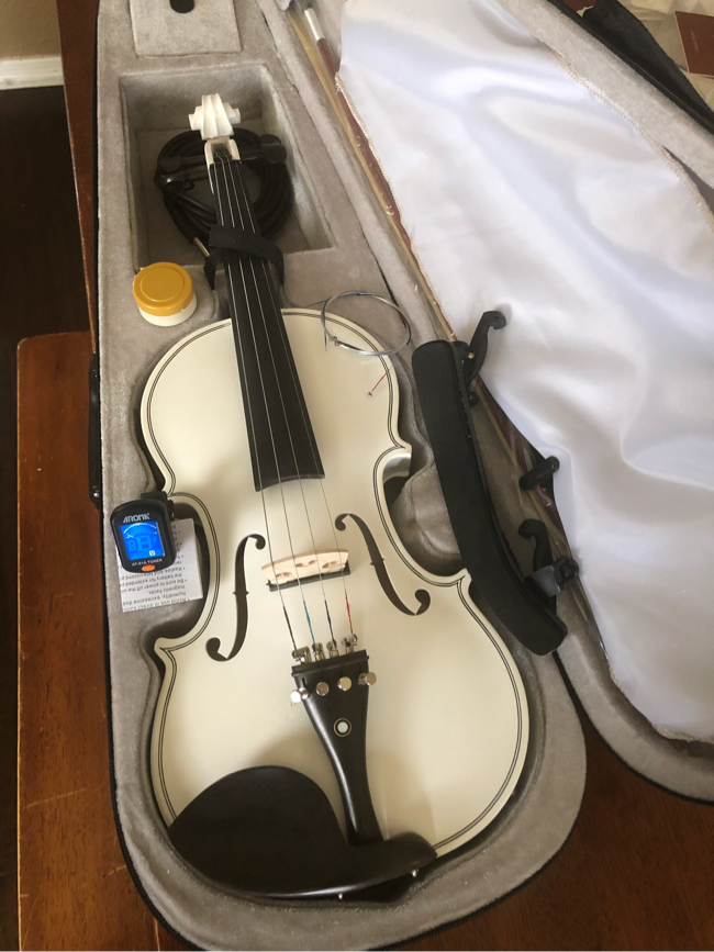 Photo 4/4 White Electric Acoustic Violin with New Bow, Digital Tuner, Shoulder Rest, Extra Strings $100 Firm