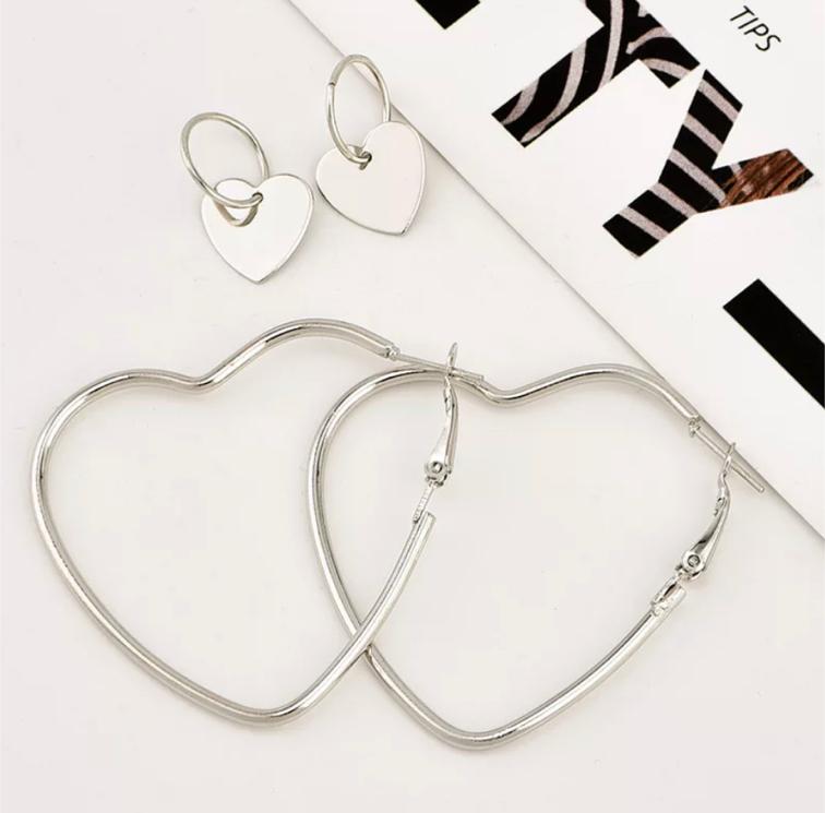 Photo 2pairs Double Heart Hoop Earrings for women Geometric Hanging Earring