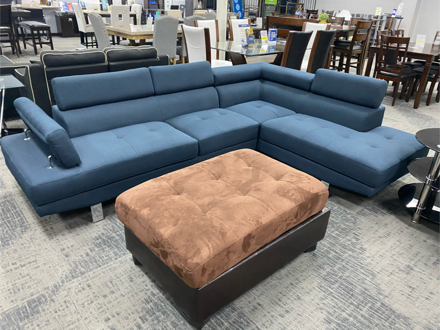 Photo 🦕🦕Navy Blue Sectional And/Or Brown Suede Ottoman🦕🦕