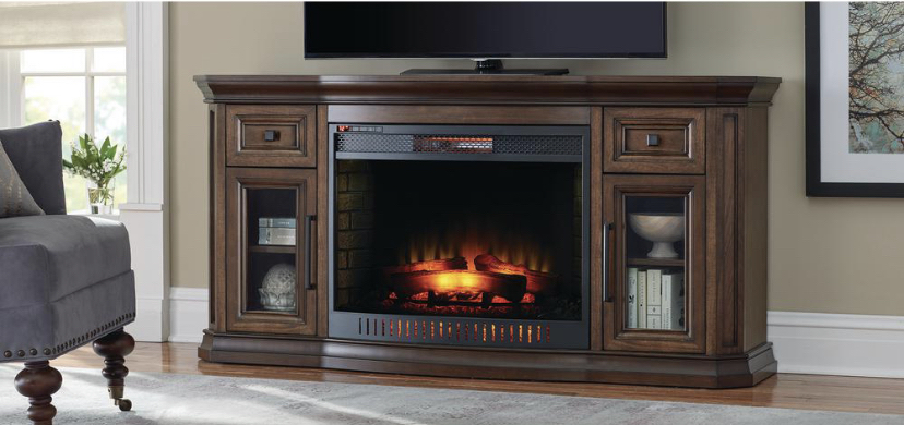 Photo 65 in. Bow Front TV Stand Infrared Electric Fireplace in Oak