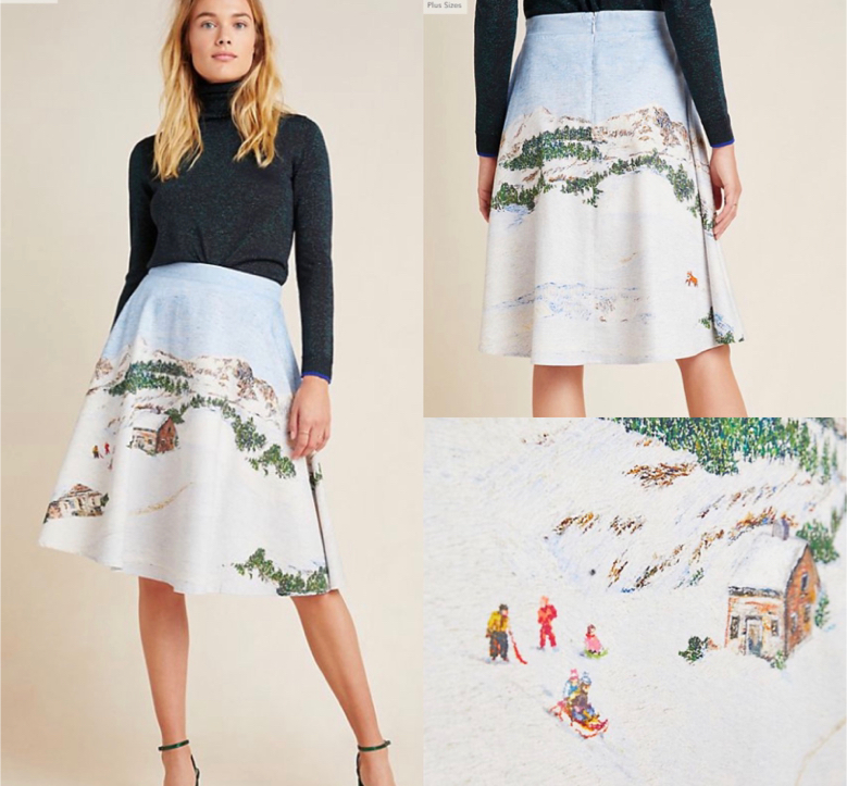 Photo NWT $160 Anthropologie Corey Lynn Calter Wonderland Midi Skirt 12