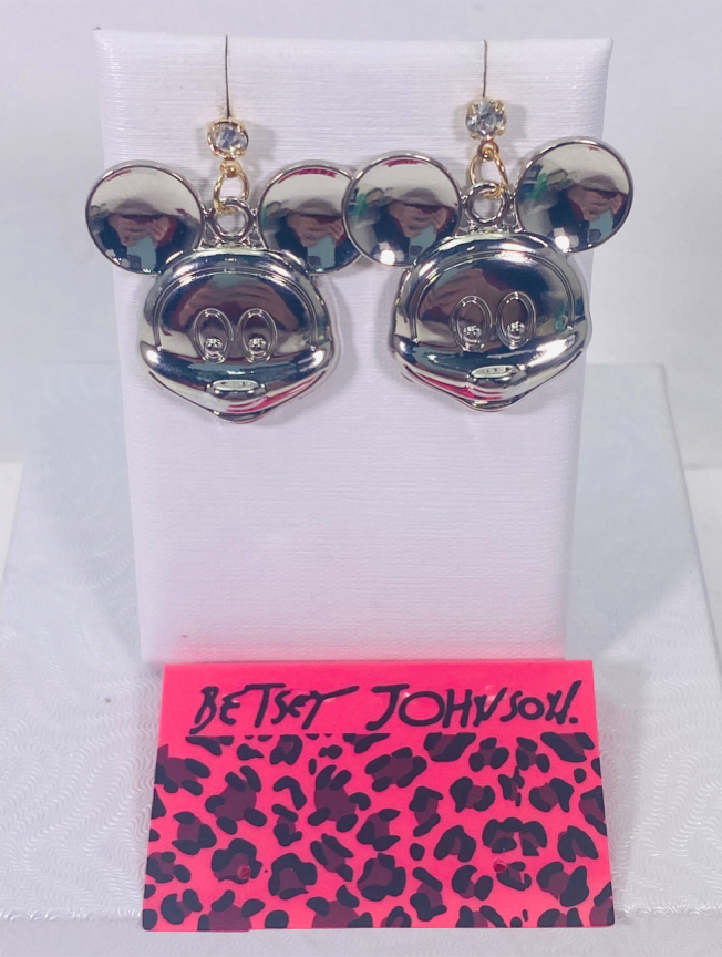 """Photo Betsey Johnson """"THE PLATINUM 🖤 MICKEY!"""" Super pretty large platinum silver tone Mickey Mouse faces dangle stud posts earrings NEW!"""