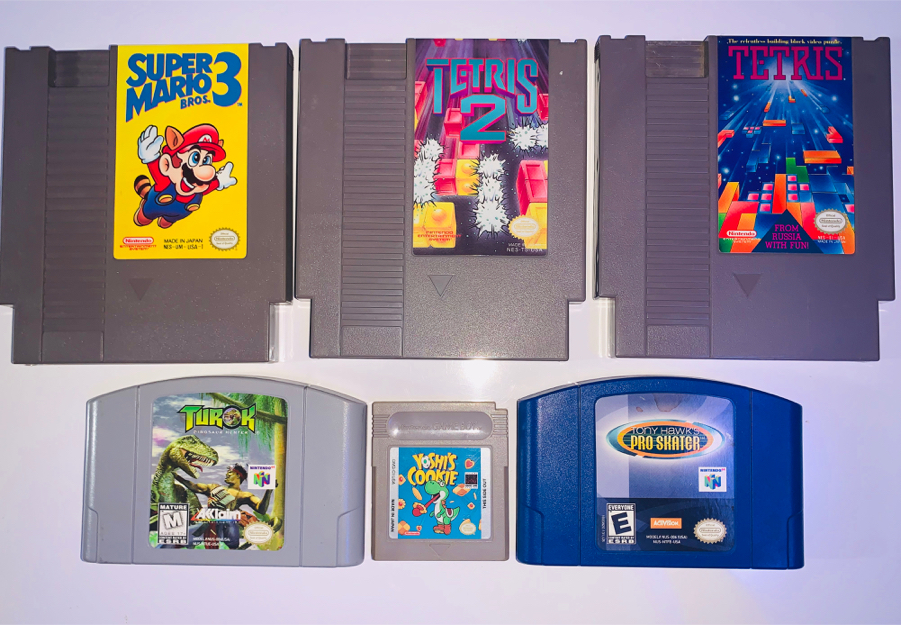 Photo Super Mario bro's 3, Tetris, Tetris 2, Turok, Tony hawk pro skater and yoshis cookie