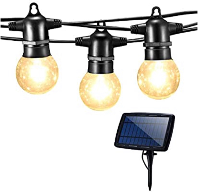 Photo LED Solar String Lights 27ft Wire Waterproof Outdoor Decoration Lights with 25 LED Bulbs and 2 Spare Blubs for Replacement 4 Lighting Modes USB Charging Port Perfect for Christmas Garden Party