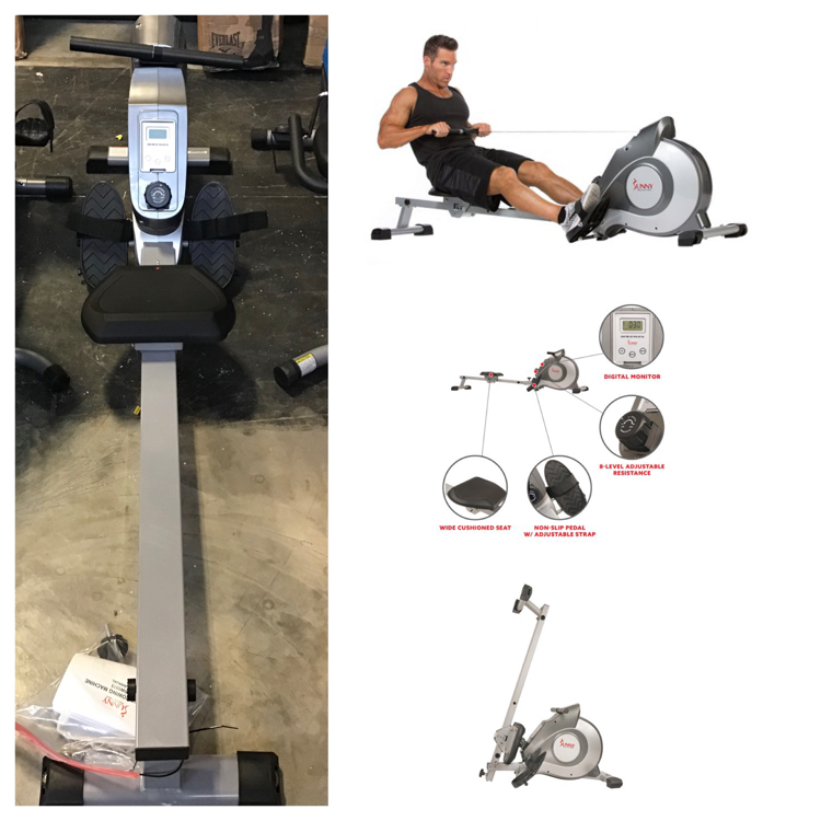 Photo Sunny Health Fitness SF-RW5515 Magnetic Rowing Machine, LCD Monitor ( Assembled)