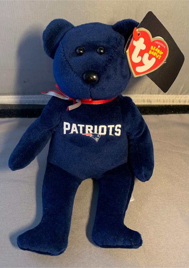 Photo Ty Beanie Babies Beanie Bear 8 NFL New England Patriots - Brand New with Tags
