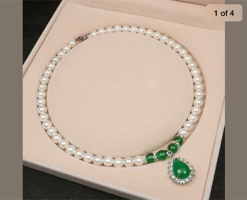 Photo 14- 24 8mm Round White Shell Pearl / Green Emerald Drop Pendant Necklace AAA