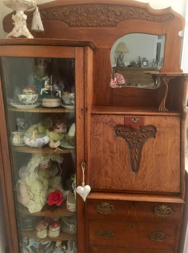 Photo Antique Oak Display Cabinet, with Flip open Desk and Drawers below