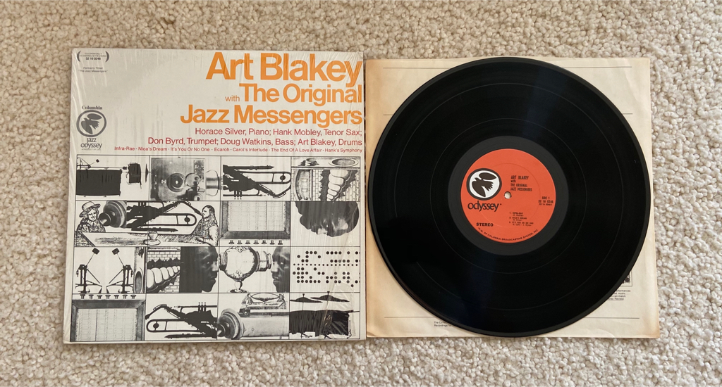 """Photo Art Blakey With The Original Jazz Messengers """"Art Blakey With The Original Jazz Messengers"""" vinyl lp 1968 Columbia Records Jazz Odyssey series Pressing still in shrink gorgeous pristine collector's copy Hard Bop Jazz. 1956 Live recording of the 1st"""