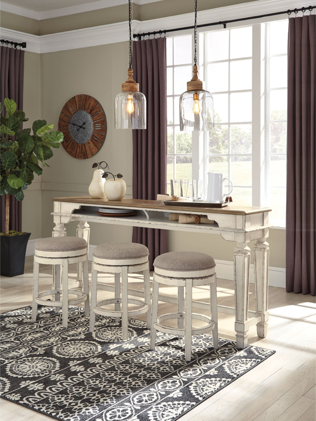 Photo Realyn -Two-tone - 4 Pc.- Long Counter Table & 3 UPH Swivel Stools