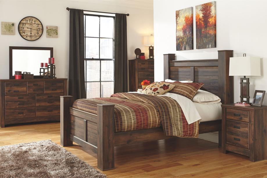 Photo Quinden - Dark Brown - 6 Pc. - Dresser, Mirror & Queen Poster Bed