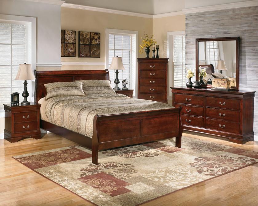 Photo Dark Brown - 6 Pc. - Dresser, Mirror, Queen Sleigh Bed & 2 Nightstands