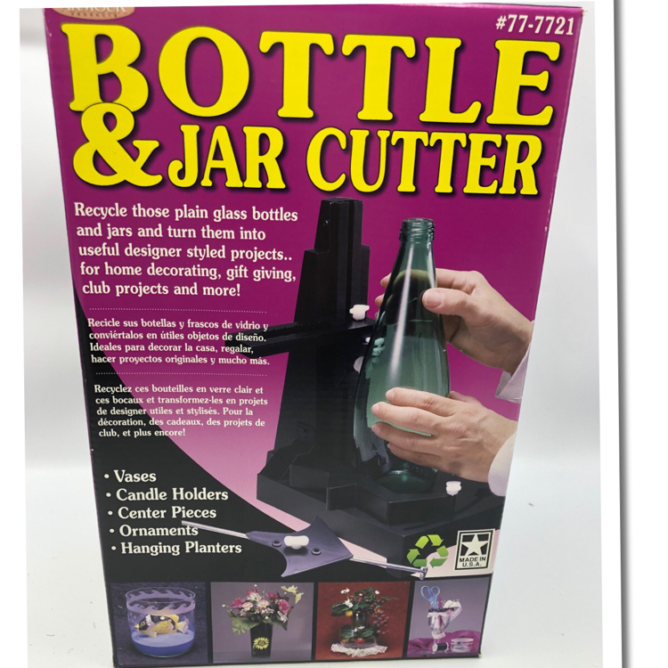 Photo ARMOUR-Bottle & Jar Cutter is a fun way to recycle your round or square bottles and jars. Kit includes: Adjustable bottle cutter, 2 cutting wheels, glass tapper, adjustment wedge, five glass sanding sheets and a 24 page, full color bottle cutting referen
