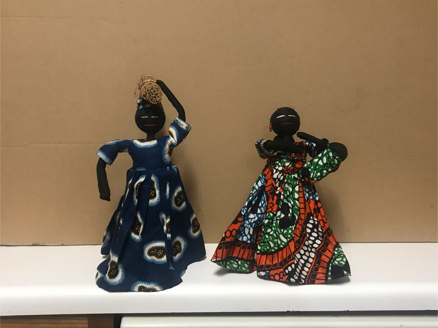 Photo Ethnic African American Tribal Cloth Dolls on Stands