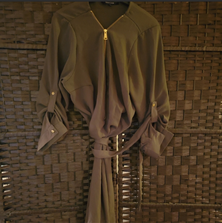 Photo Olive Green Shirt Zippered Dress | Ships Only