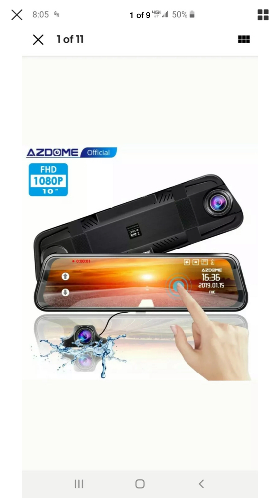 Photo AZDOME 10 Streaming 1080P Dual Lens Car Dash Cam Recorder Touching Night Vision Original rearview mirror vision blind spot exists. For example,Rainy days, the rear windshield is water droplets and stains, affecting sight. Foggy days,Too many people in