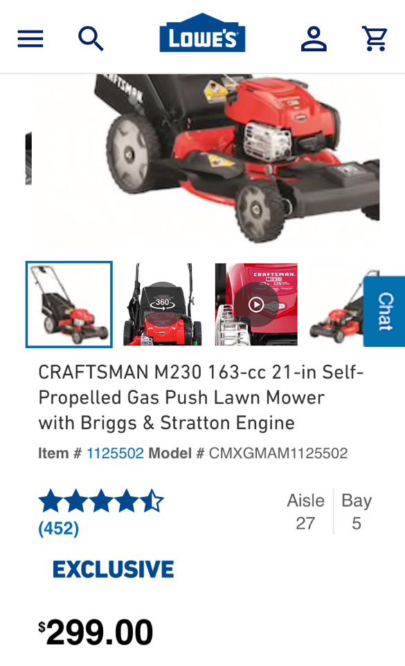 Photo Craftsman M230 163-cc 21-in self Propelled Gas Push Lawn Mower
