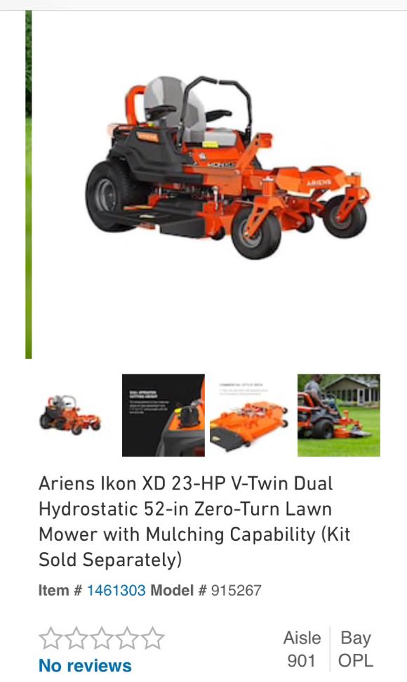 Photo Ariens Ikon XD 23 HP V-Twin Dual Hydrostatic 52 inch zero turn Riding Lawn Mower