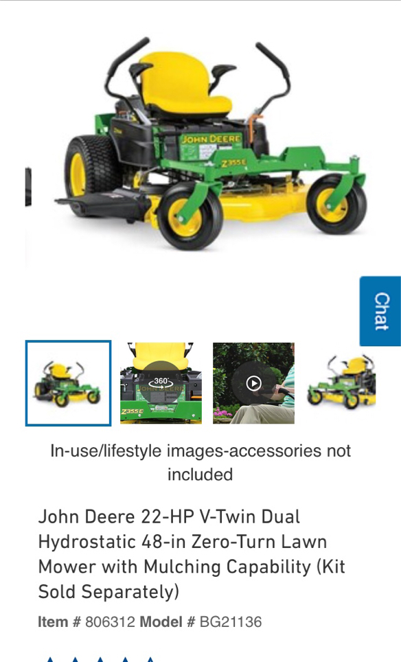 Photo John Deere 22-HP V-Twin dual hydrostatic 48 in zero turn riding lawn mower