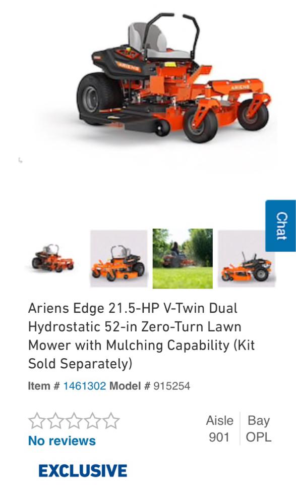 Photo Ariens Edge 21.5 HP V-Twin Dual Hydrostatic 52 in zero turn Riding Lawn Mower New
