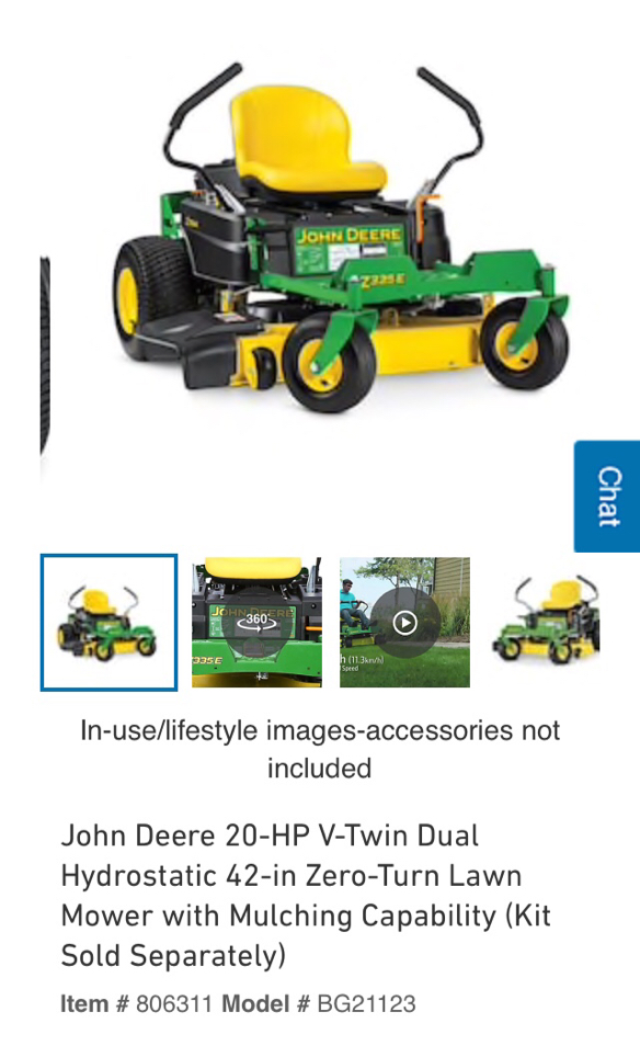 Photo John Deere 20 HP V-Twin Dual Hydrostatic 42 inch zero turn Riding Lawn Mower New