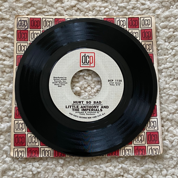 """Photo Little Anthony and The Imperials """"Hurts So Bad/Reputation"""" vinyl 7"""" single 1965 DCP International Original 1st Pressing -1Hmatrix beautiful glossy vinyl in company sleeve R&B. This pressing sells for up to $28 online in worse condition without the"""