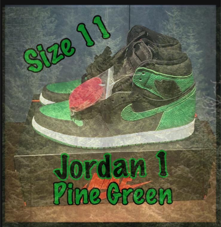 "Photo Nike Jordan 1 Retro ""Pine Green"" - Size 11 - New!"