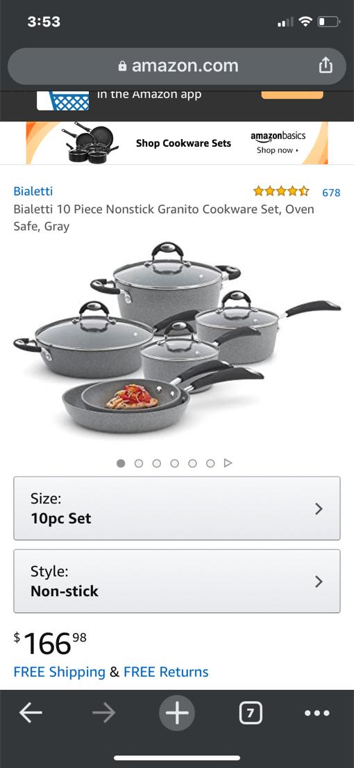 Photo Bialetti 10 piece *non-stick* Granito Cookware Set *Oven Safe* Gray •Pots & Pans
