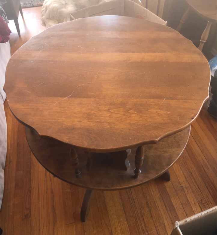 "Photo Late Mid Century ""Ethan Allen"" Solid Maple Wood Lazy Susan Spinning Game Accent Table"