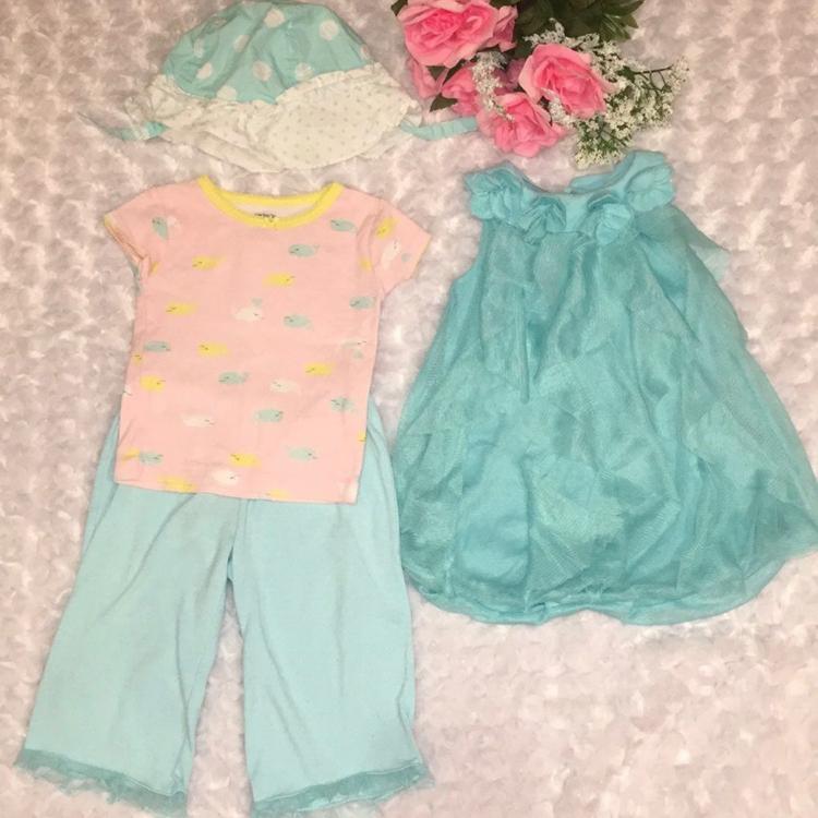 Photo Baby Girl Pajamas Hat & Dress Bundle Size 12-18 Months