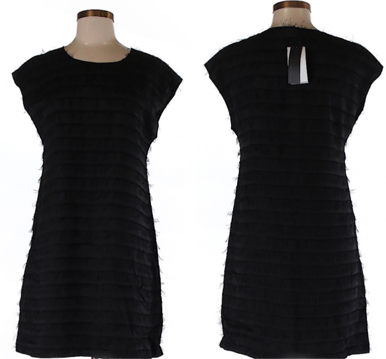 Photo NWT $159 Kenneth Cole Black A Line Crew Neck Tiered Dress XS
