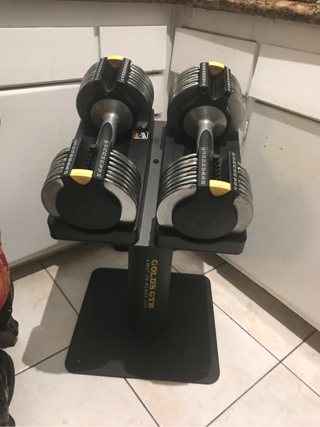 Photo Set of 2: Golds Gym Switch Plates 100 Adjustable Dumbbells (Adjusts 10lbs - 50lbs in 5lb increments) with stand