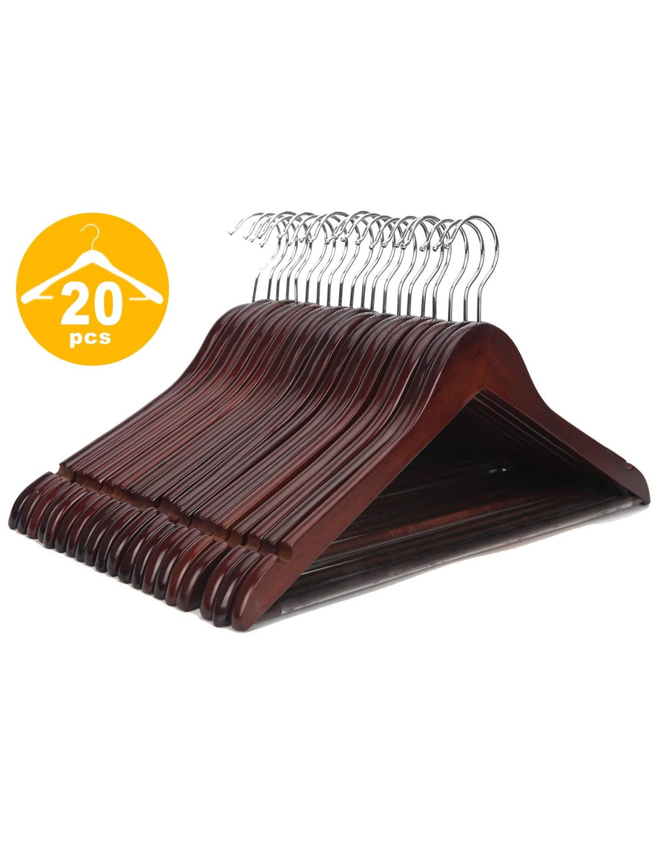 Photo Wooden Coat Hangers, 20 Pack High Grade 17.5 Inch Wood Suit Hangers With Non Slip Pant Bar - Extra Smooth and Splinter Free Walnut Finish