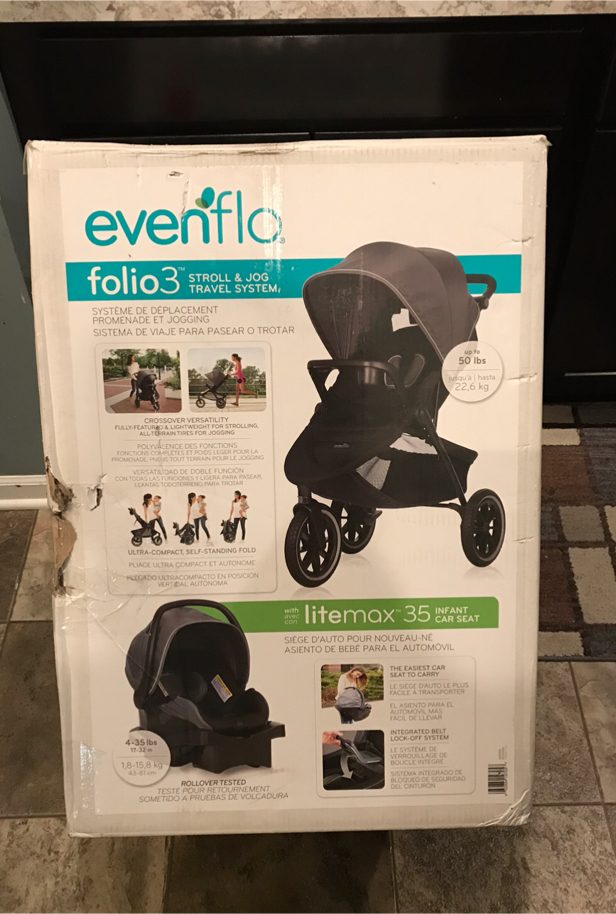 Photo Evenflo Folio3 Stroll & Jog Travel System w/LiteMax 35 Infant Car Seat